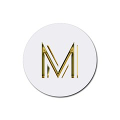M Monogram Initial Letter M Golden Chic Stylish Typography Gold Rubber Coaster (Round)