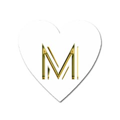 M Monogram Initial Letter M Golden Chic Stylish Typography Gold Heart Magnet