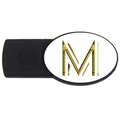 M Monogram Initial Letter M Golden Chic Stylish Typography Gold USB Flash Drive Oval (1 GB)