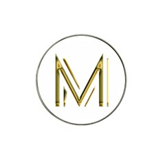 M Monogram Initial Letter M Golden Chic Stylish Typography Gold Hat Clip Ball Marker (4 pack)