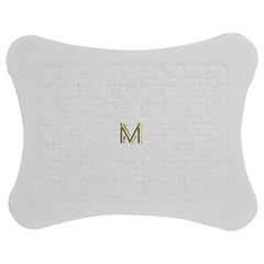 M Monogram Initial Letter M Golden Chic Stylish Typography Gold Jigsaw Puzzle Photo Stand (Bow)