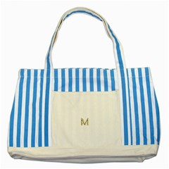 M Monogram Initial Letter M Golden Chic Stylish Typography Gold Striped Blue Tote Bag