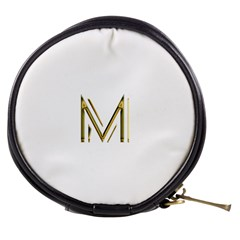 M Monogram Initial Letter M Golden Chic Stylish Typography Gold Mini Makeup Bags