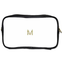 M Monogram Initial Letter M Golden Chic Stylish Typography Gold Toiletries Bags 2-Side
