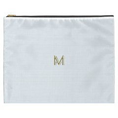 M Monogram Initial Letter M Golden Chic Stylish Typography Gold Cosmetic Bag (XXXL)