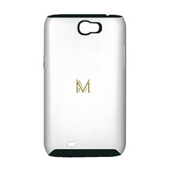 M Monogram Initial Letter M Golden Chic Stylish Typography Gold Samsung Galaxy Note 2 Hardshell Case (PC+Silicone)