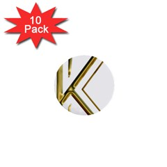 Monogrammed Monogram Initial Letter K Gold Chic Stylish Elegant Typography 1  Mini Buttons (10 pack)