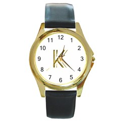 Monogrammed Monogram Initial Letter K Gold Chic Stylish Elegant Typography Round Gold Metal Watch