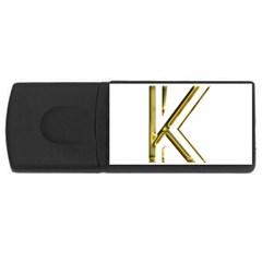 Monogrammed Monogram Initial Letter K Gold Chic Stylish Elegant Typography USB Flash Drive Rectangular (4 GB)
