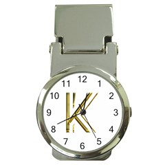 Monogrammed Monogram Initial Letter K Gold Chic Stylish Elegant Typography Money Clip Watches