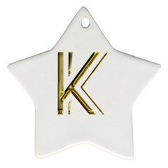 Monogrammed Monogram Initial Letter K Gold Chic Stylish Elegant Typography Star Ornament (Two Sides)