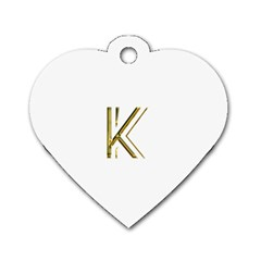 Monogrammed Monogram Initial Letter K Gold Chic Stylish Elegant Typography Dog Tag Heart (Two Sides)