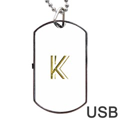 Monogrammed Monogram Initial Letter K Gold Chic Stylish Elegant Typography Dog Tag USB Flash (One Side)