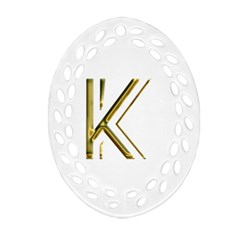 Monogrammed Monogram Initial Letter K Gold Chic Stylish Elegant Typography Oval Filigree Ornament (2-Side)