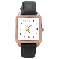 Monogrammed Monogram Initial Letter K Gold Chic Stylish Elegant Typography Rose Gold Leather Watch