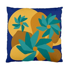 Urban Garden Abstract Flowers Blue Teal Carrot Orange Brown Standard Cushion Case (two Sides)