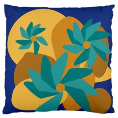 Urban Garden Abstract Flowers Blue Teal Carrot Orange Brown Standard Flano Cushion Case (two Sides)