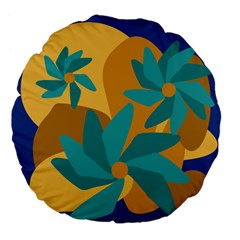 Urban Garden Abstract Flowers Blue Teal Carrot Orange Brown Large 18  Premium Flano Round Cushions