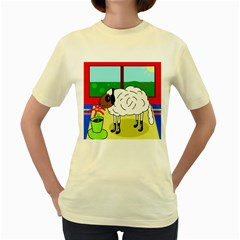 Urban sheep Women s Yellow T-Shirt