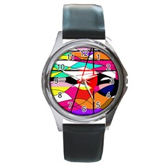 Abstract waves Round Metal Watch