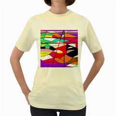 Abstract waves Women s Yellow T-Shirt