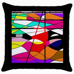 Abstract waves Throw Pillow Case (Black)