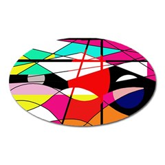 Abstract waves Oval Magnet