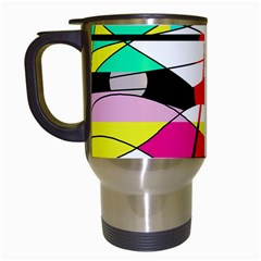 Abstract waves Travel Mugs (White)