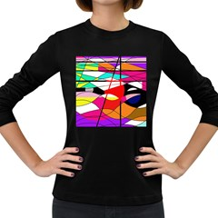 Abstract waves Women s Long Sleeve Dark T-Shirts