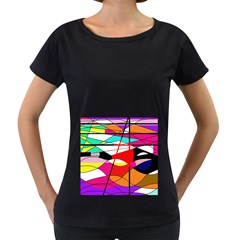 Abstract waves Women s Loose-Fit T-Shirt (Black)