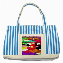 Abstract waves Striped Blue Tote Bag