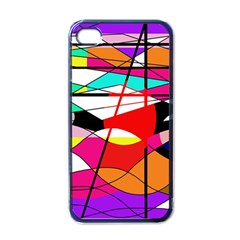 Abstract waves Apple iPhone 4 Case (Black)