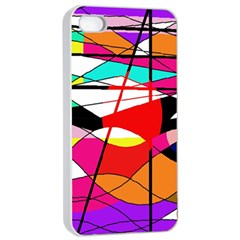 Abstract waves Apple iPhone 4/4s Seamless Case (White)