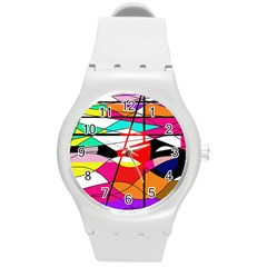 Abstract waves Round Plastic Sport Watch (M)