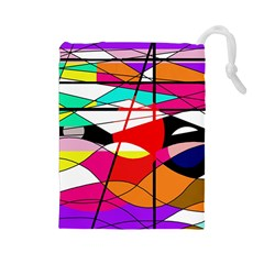 Abstract waves Drawstring Pouches (Large)