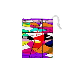Abstract waves Drawstring Pouches (XS)