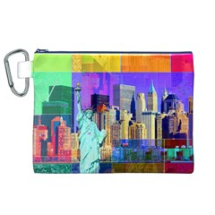 New York City The Statue Of Liberty Canvas Cosmetic Bag (XL)