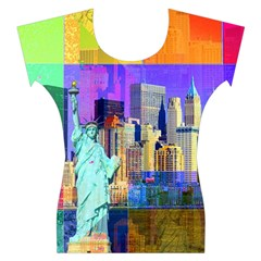 New York City The Statue Of Liberty Women s Cap Sleeve Top