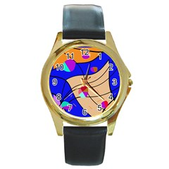 Decorative abstract art Round Gold Metal Watch
