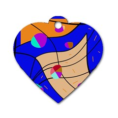 Decorative abstract art Dog Tag Heart (One Side)