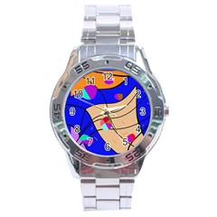 Decorative abstract art Stainless Steel Analogue Watch