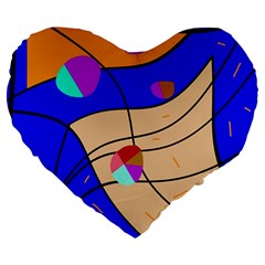 Decorative abstract art Large 19  Premium Heart Shape Cushions