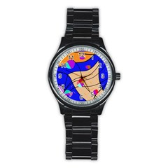 Decorative abstract art Stainless Steel Round Watch
