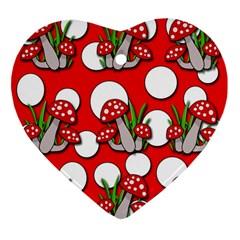 Mushrooms pattern Ornament (Heart)