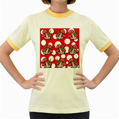 Mushrooms pattern Women s Fitted Ringer T-Shirts