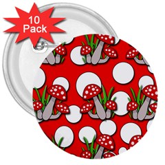 Mushrooms pattern 3  Buttons (10 pack)
