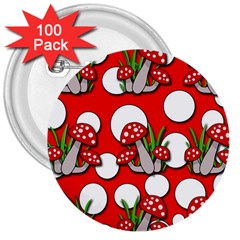 Mushrooms pattern 3  Buttons (100 pack)