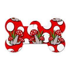 Mushrooms pattern Dog Tag Bone (Two Sides)