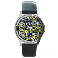 Blue and yellow decor Round Metal Watch