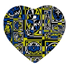 Blue and yellow decor Ornament (Heart)